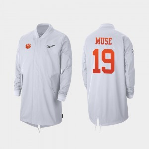 Tanner Muse College Jacket Full-Zip Sideline Men #19 White 2019 Football Playoff Bound CFP Champs