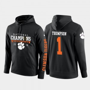 For Men's Black Football Pullover 2018 National Champions Clemson University #1 Trevion Thompson College Hoodie