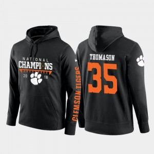 Clemson Tigers Black For Men Football Pullover #35 Ty Thomason College Hoodie 2018 National Champions