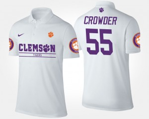 Tyrone Crowder College Polo #55 White For Men's Clemson