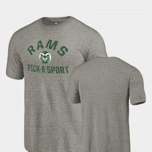 Gray Pick-A-Sport College T-Shirt For Men's Tri-Blend Distressed UC Colorado