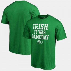 Irish It Was Gameday St. Patrick's Day For Men's Kelly Green CU Boulder College T-Shirt