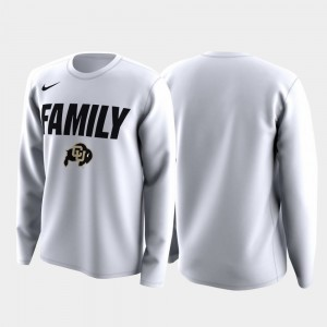 White For Men's College T-Shirt Colorado Buffalo Family on Court March Madness Legend Basketball Long Sleeve