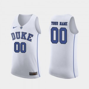 College Customized Jersey Authentic White Duke Men March Madness Basketball #00