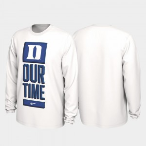 Our Time Bench Legend White For Men College T-Shirt 2020 March Madness Blue Devils