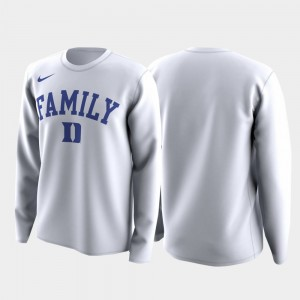 Family on Court Blue Devils College T-Shirt March Madness Legend Basketball Long Sleeve White For Men