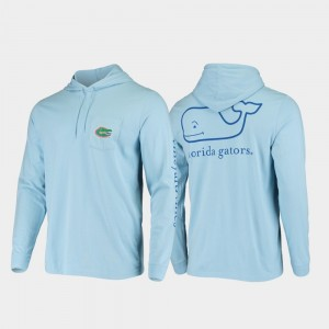 For Men's Florida Light Blue College T-Shirt Whale Hooded Long Sleeve