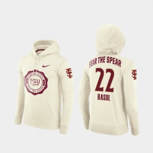 Rival Therma Cream Football Pullover #22 Amir Rasul College Hoodie For Men's Florida State