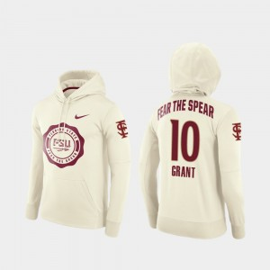 Anthony Grant College Hoodie Cream #10 For Men's Football Pullover Rival Therma Seminole