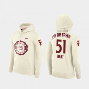 Cream Bobby Hart College Hoodie Football Pullover Mens #51 Florida State Seminoles Rival Therma