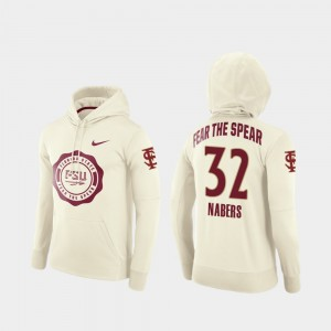 Rival Therma Florida State Football Pullover #32 Gabe Nabers College Hoodie Cream For Men