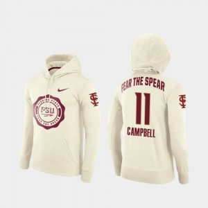 #11 Football Pullover Cream Rival Therma Seminole For Men's George Campbell College Hoodie
