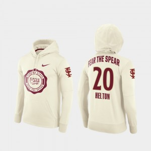 Keyshawn Helton College Hoodie Football Pullover Seminole Cream Rival Therma #20 For Men's