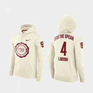 Cream #4 Khalan Laborn College Hoodie Football Pullover Florida State Rival Therma Men's