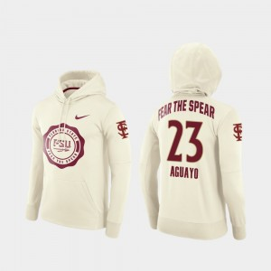 Seminoles #23 Football Pullover Ricky Aguayo College Hoodie Rival Therma For Men Cream
