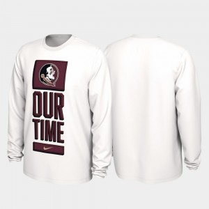 2020 March Madness Men White Florida ST College T-Shirt Our Time Bench Legend