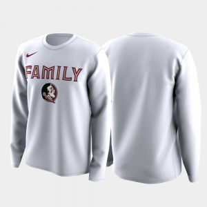 Men's College T-Shirt March Madness Legend Basketball Long Sleeve White Seminoles Family on Court