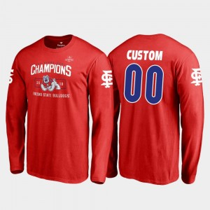 Fresno State 2018 Las Vegas Bowl Champions Red #00 Blitz Long Sleeve For Men's College Customized T-Shirt