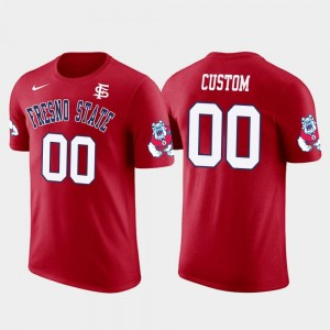 #00 College Customized T-Shirt For Men's Fresno State Bulldogs Cotton Football Red Future Stars