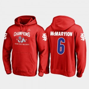 Marcus McMaryion College Hoodie Blitz #6 Mens Fresno State 2018 Las Vegas Bowl Champions Red