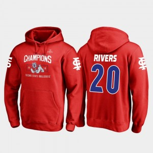 #20 Blitz Red Fresno State Bulldogs Ronnie Rivers College Hoodie 2018 Las Vegas Bowl Champions For Men's