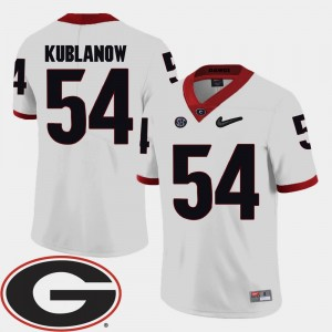 2018 SEC Patch Football For Men's White UGA Brandon Kublanow College Jersey #54