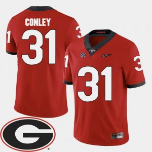 Football #31 2018 SEC Patch Red Georgia Chris Conley College Jersey For Men's
