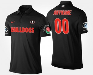 Black Southeastern Conference Rose Bowl Mens Bowl Game UGA Bulldogs #00 College Customized Polo