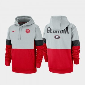 UGA Gray Red College Hoodie For Men Therma Performance Pullover Rivalry