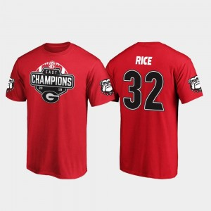 Red 2019 SEC East Football Division Champions #32 Monty Rice College T-Shirt For Men University of Georgia