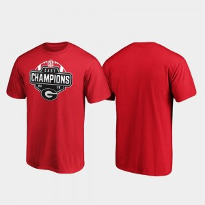Red 2019 SEC East Football Division Champions University of Georgia College T-Shirt For Men