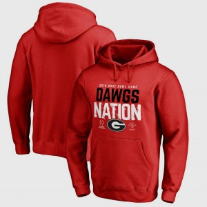 For Men's Red College Hoodie UGA Bowl Game Football Playoff 2018 Rose Bowl Bound Delay