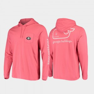 Red For Men's Whale Georgia College T-Shirt Hooded Long Sleeve
