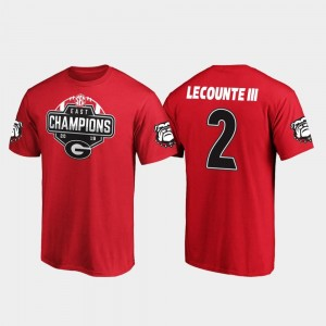 #2 For Men's UGA Red Richard LeCounte III College T-Shirt 2019 SEC East Football Division Champions