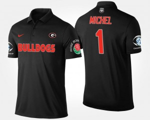 Bowl Game Men Southeastern Conference Rose Bowl Sony Michel College Polo #1 University of Georgia Black