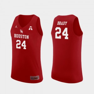 Replica Basketball UH Cougars #24 Men's Breaon Brady College Jersey Red