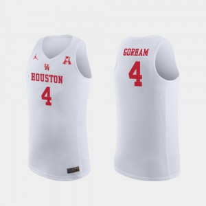 Basketball Cougars White Replica For Men's Justin Gorham College Jersey #4
