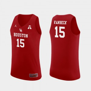 Basketball Men's UH Cougars Replica Red #15 Neil VanBeck College Jersey