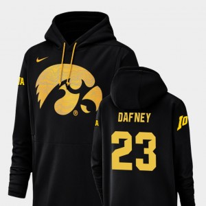 Hawkeyes #23 For Men's Champ Drive Football Performance Black Dominique Dafney College Hoodie