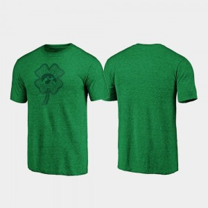 St. Patrick's Day College T-Shirt For Men Iowa Hawkeyes Celtic Charm Tri-Blend Green