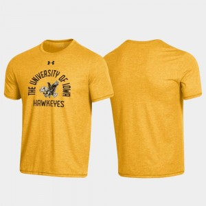 Heathered Gold Throwback Arched Logo Men University of Iowa College T-Shirt