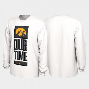Iowa Mens White College T-Shirt 2020 March Madness Our Time Bench Legend