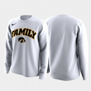 College T-Shirt March Madness Legend Basketball Long Sleeve Hawkeyes Mens Family on Court White