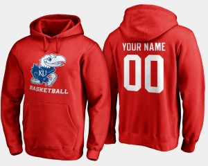 College Customized Hoodie For Men Red Jayhawks Basketball - #00