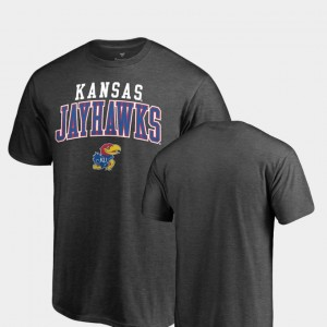 For Men's College T-Shirt Jayhawks Square Up Heathered Charcoal