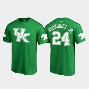#24 White Logo Football St. Patrick's Day Kentucky Wildcats Mens Kelly Green Christopher Rodriguez Jr. College T-Shirt