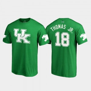 Wildcats White Logo Football #18 Kelly Green For Men's St. Patrick's Day Clevan Thomas Jr. College T-Shirt