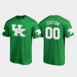 University of Kentucky For Men White Logo College Customized T-Shirts St. Patrick's Day #00 Kelly Green