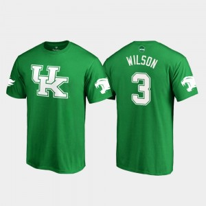 Wildcats #3 Kelly Green Men's St. Patrick's Day White Logo Football Terry Wilson College T-Shirt