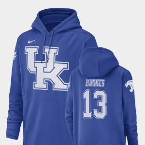 #13 University of Kentucky Royal Football Performance For Men's Zy'Aire Hughes College Hoodie Champ Drive